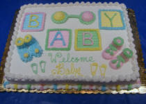Baby Shower Icing Blocks Cake
